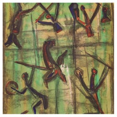 20th Century Mixed Media on Paper Italian Abstract Painting, 1970