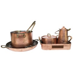 20th Century Mixed Set of Copperware, 8 Pieces