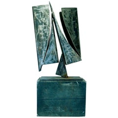 20th Century Modern Art Steel Sculpture and Pedestal