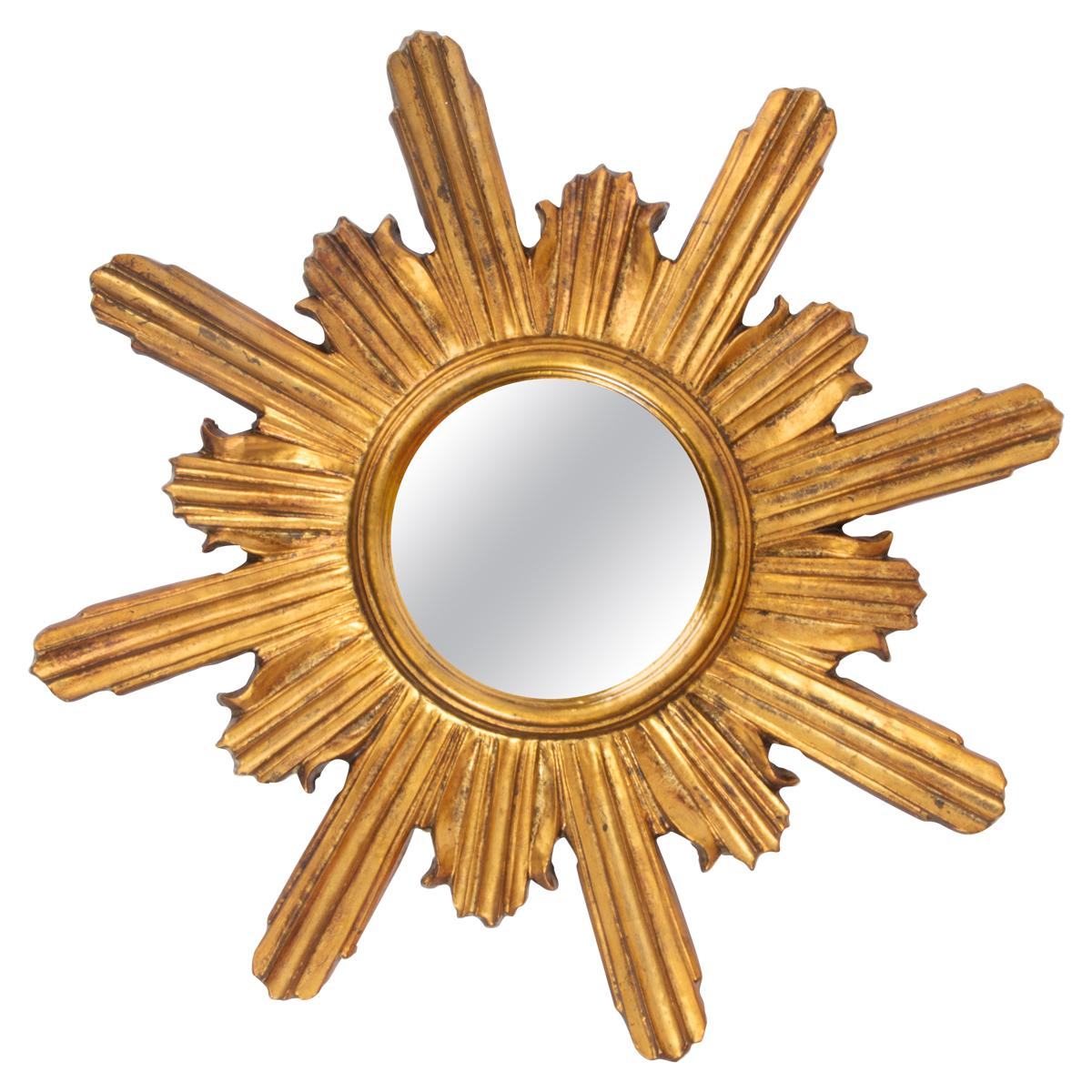 20th Century Modern Gold Italian Sunburst Mirror, Giltwood, 1960s