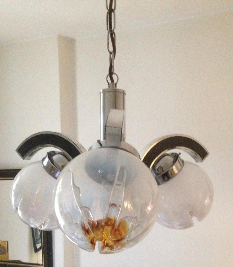 Italian Murano Glass Mazzega Pendant Lamp, Mid-Century Modern For Sale