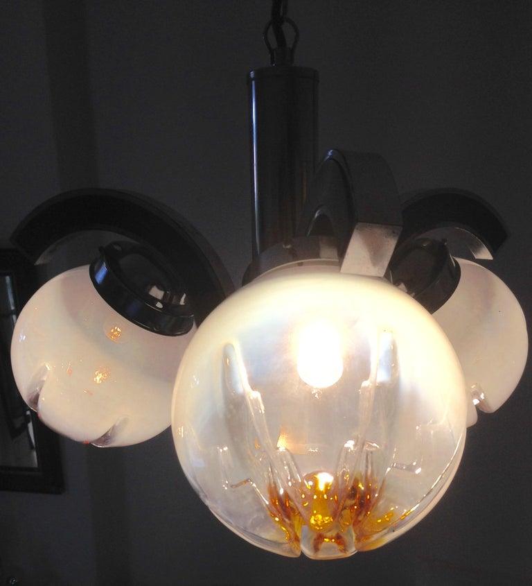 Late 20th Century Murano Glass Mazzega Pendant Lamp, Mid-Century Modern For Sale