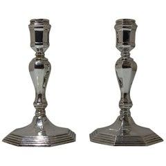 20th Century Modern Sterling Silver Pair Candlesticks, London, 1963