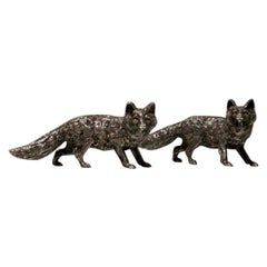 20th Century Modern Sterling Silver Pair Foxes London 1969 Maker SMD