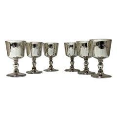20th Century Modern Sterling Silver Set Six Wine Goblets Birmingham 1970 Barker