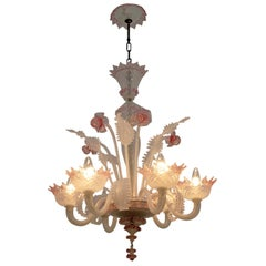 """20th Century Modern Venetian Murano Glass Chandelier """"Ca'rezzonico"""" Style, 1960s"""