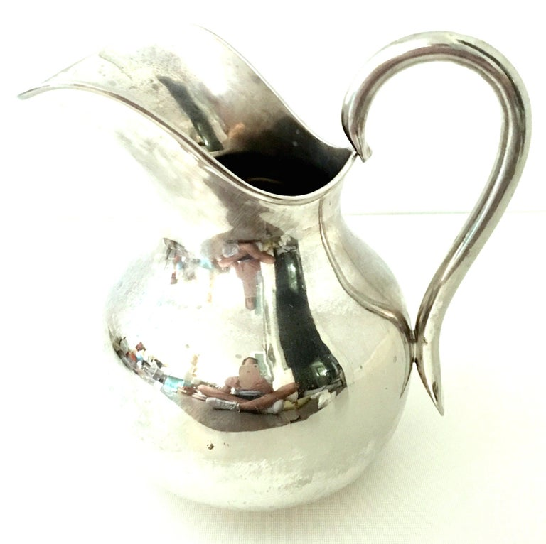 20th Century Modernist Mexican Silver Plate Pitcher-Signed For Sale 1