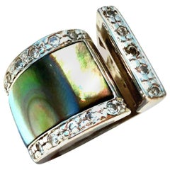 20th Century Modernist Mexican Sterling Silver, Crystal & Abalone Shell Ring