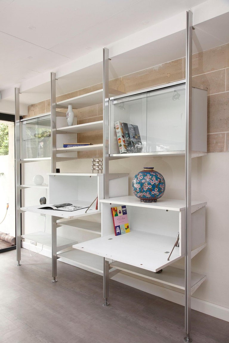 Lacquered 20th Century Modular Wall Unit in Mobilier International Style For Sale