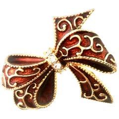20th Century Monet Gold Enamel & Crystal Dimensional Holiday Bow Brooch