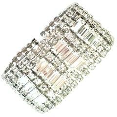 20th Century Monumental Art Deco Style Silver & Austrian Crystal Bracelet