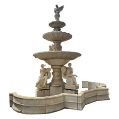 20th Century Monumental Fountain in White Statuary Marble