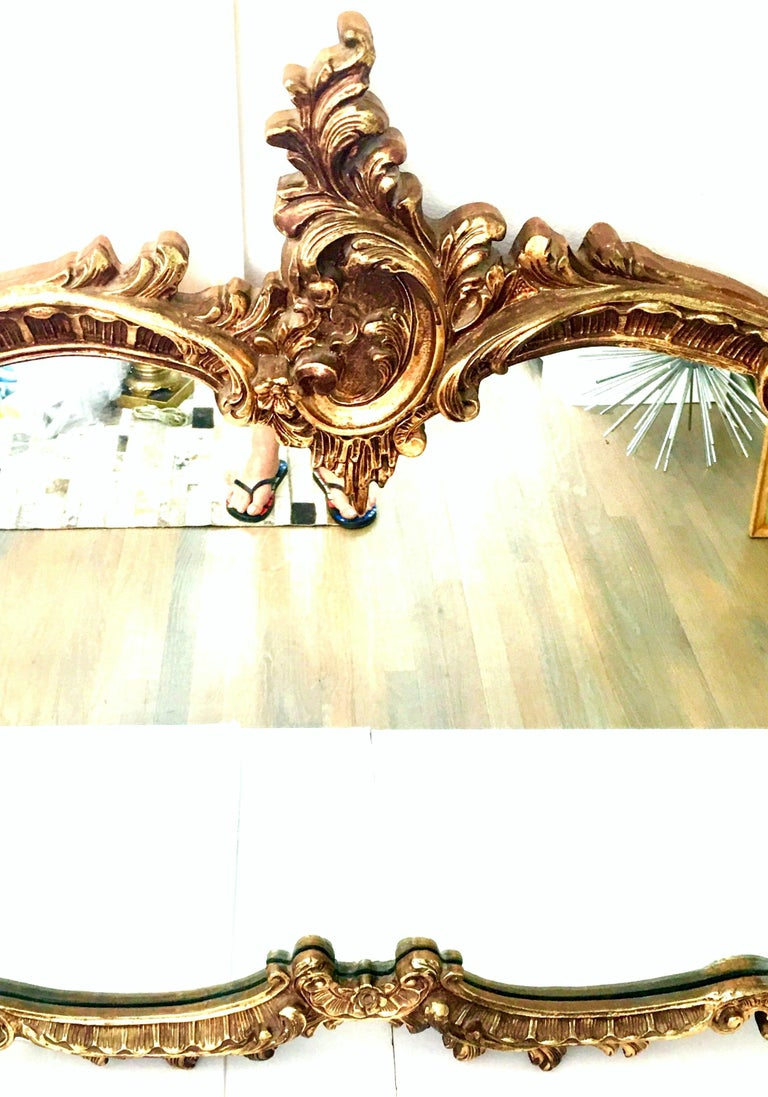 20th Century Monumental French Baroque Style Ornate Gold Gilt Mirror In Good Condition For Sale In West Palm Beach, FL