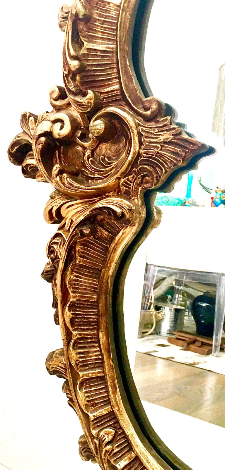 20th Century Monumental French Baroque Style Ornate Gold Gilt Mirror For Sale 2