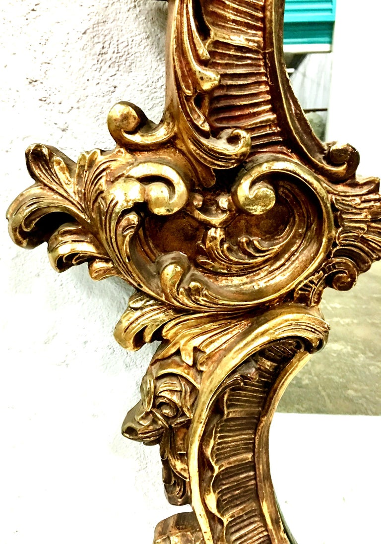 20th Century Monumental French Baroque Style Ornate Gold Gilt Mirror For Sale 3