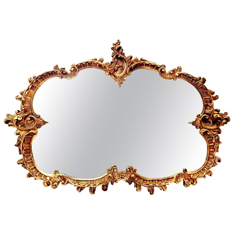 20th Century Monumental French Baroque Style Ornate Gold Gilt Mirror For Sale