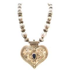 20th Century Monumental Rajasthan Silver & Lapis Lazuli Heart Pendant Necklace