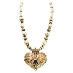 20th Century Monumental Rajasthan Silver & Lapis Lazuli Heart Pendant Necklace