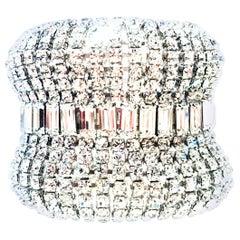 20th Century Monumental Silver & Austrian Crystal Cuff Link Bracelet By, Weiss