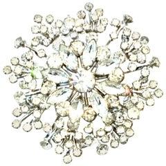 20th Century Monumental Silver & Austrian Crystal Dimensional Brooch