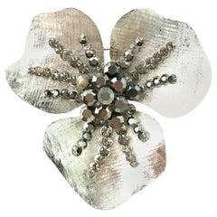 20th Century Monumental Silver & Austrian Crystal Dimensional Flower Brooch