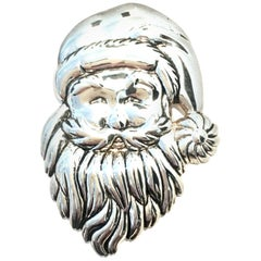 "20th Century Monumental Silver Plate ""Santa"" Necklace Pendant & Brooch By, Best"