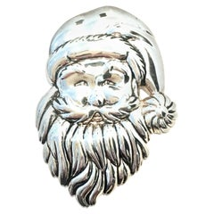 """20th Century Monumental Silver Plate """"Santa"""" Necklace Pendant & Brooch By, Best"""