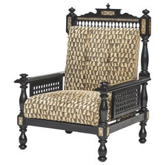 20th Century Moroccan Ebonized Armchair, with Mother of Pearl and Bone