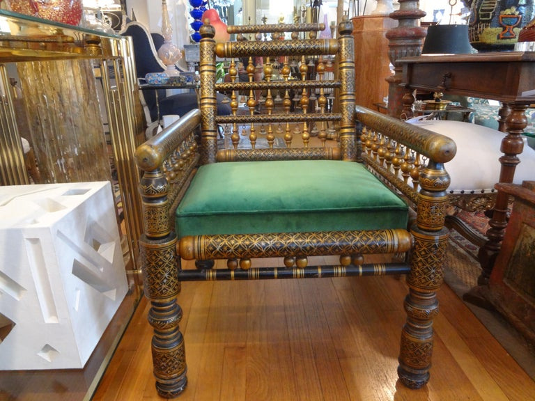20th Century Moroccan Hand Decorated Chair For Sale 4