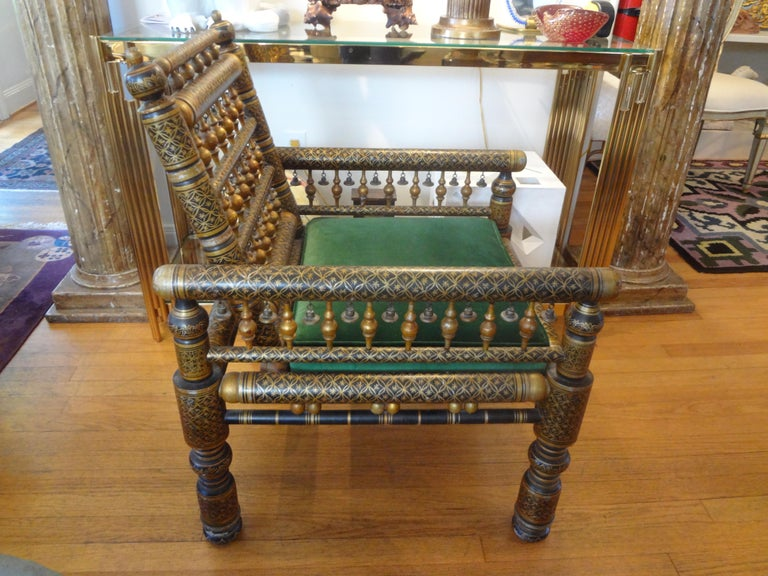 Moorish 20th Century Moroccan Hand Decorated Chair For Sale