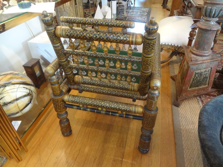 Mid-20th Century 20th Century Moroccan Hand Decorated Chair For Sale