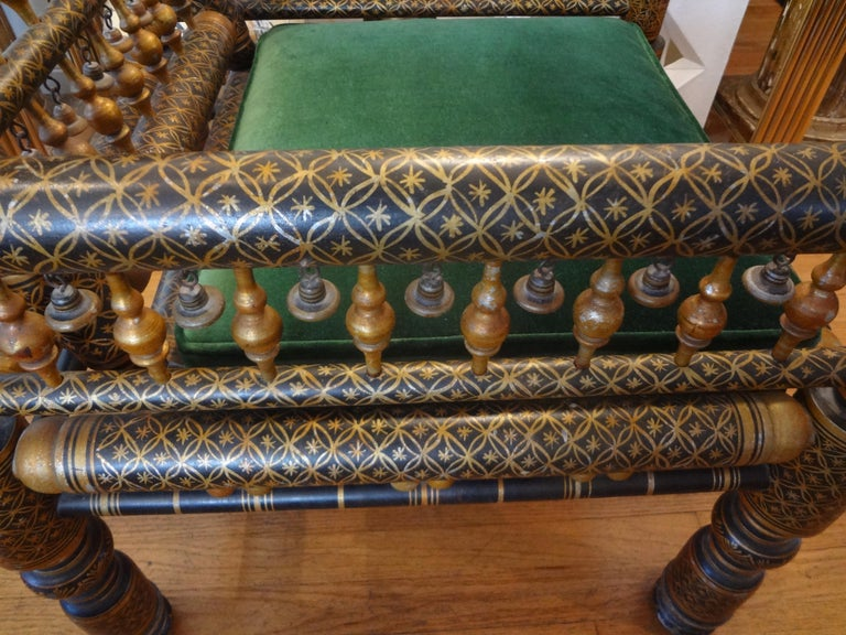 Velvet 20th Century Moroccan Hand Decorated Chair For Sale