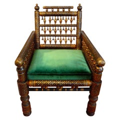 20th Century Moroccan Hand Decorated Chair