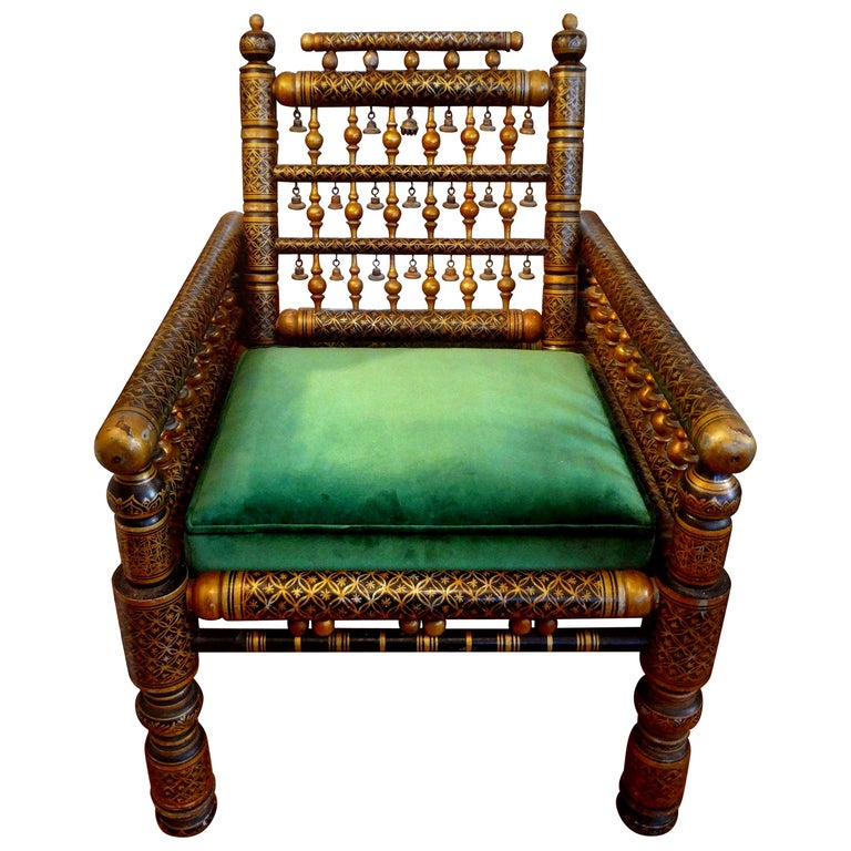 20th Century Moroccan Hand Decorated Chair For Sale