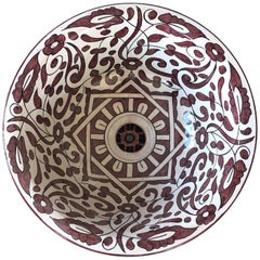20th Century Moroccan Hand Painted Round Ceramic Sink in Red and Beige