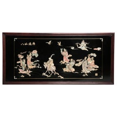 20th Century Mother of Pearl inlays Decorative Chinoiserie Panel