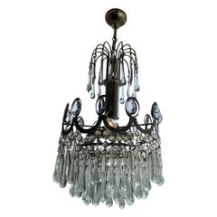 20th Century Murano Glass and Chromed Metal Chandelier, 1950s
