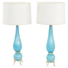 20th Century Murano Glass / Gold Flecks Pair Lamp