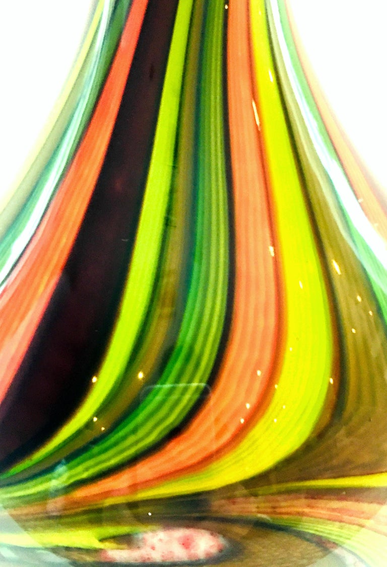 20th Century Murano Style Cased Art Glass Striped Vase For Sale 7