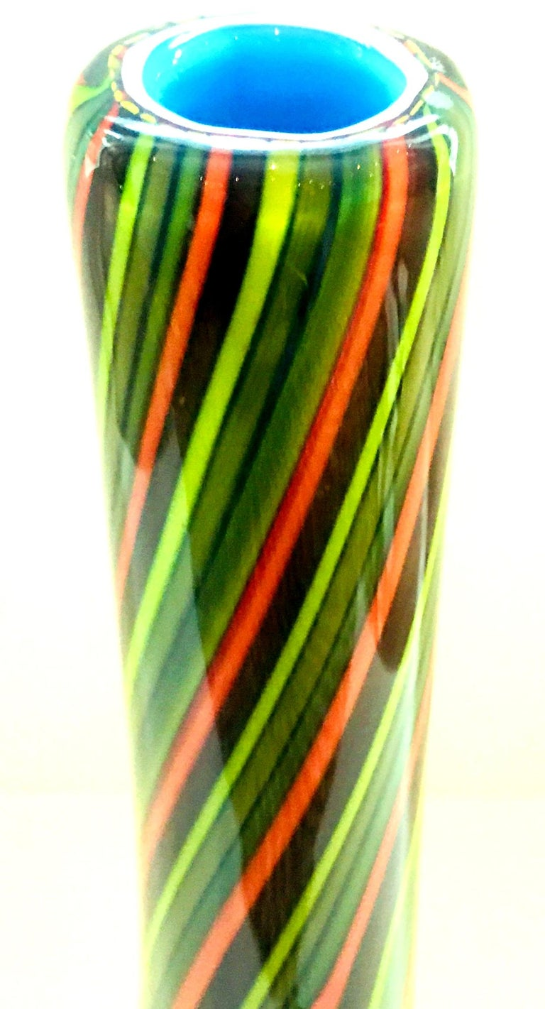 20th Century Murano Style Cased Art Glass Striped Vase For Sale 10