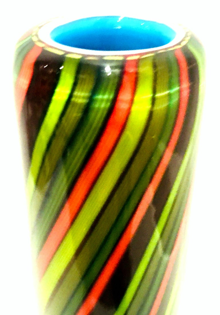 20th Century Murano Style Cased Art Glass Striped Vase For Sale 11