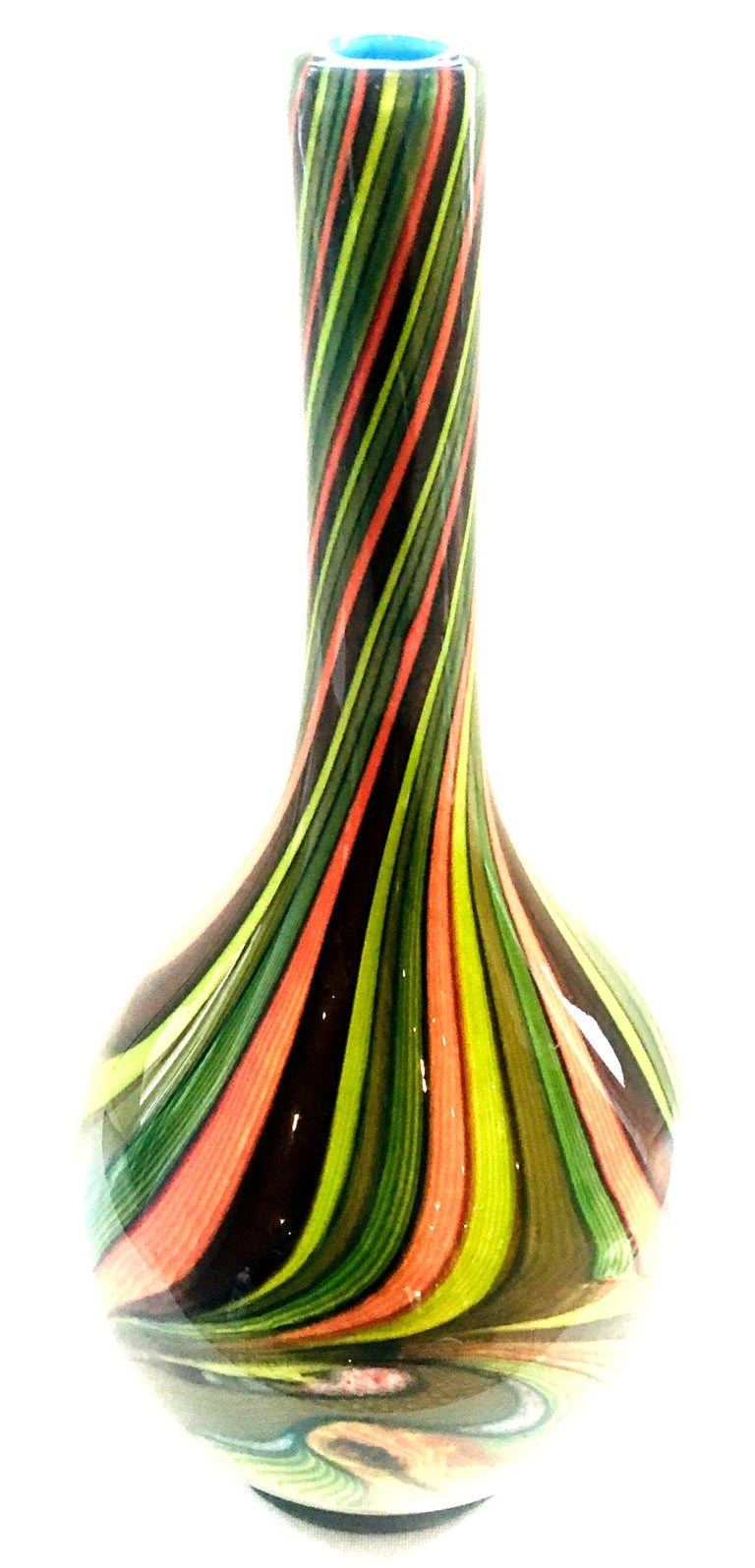 20th Century Murano Style Cased Art Glass Striped Vase In Excellent Condition For Sale In West Palm Beach, FL