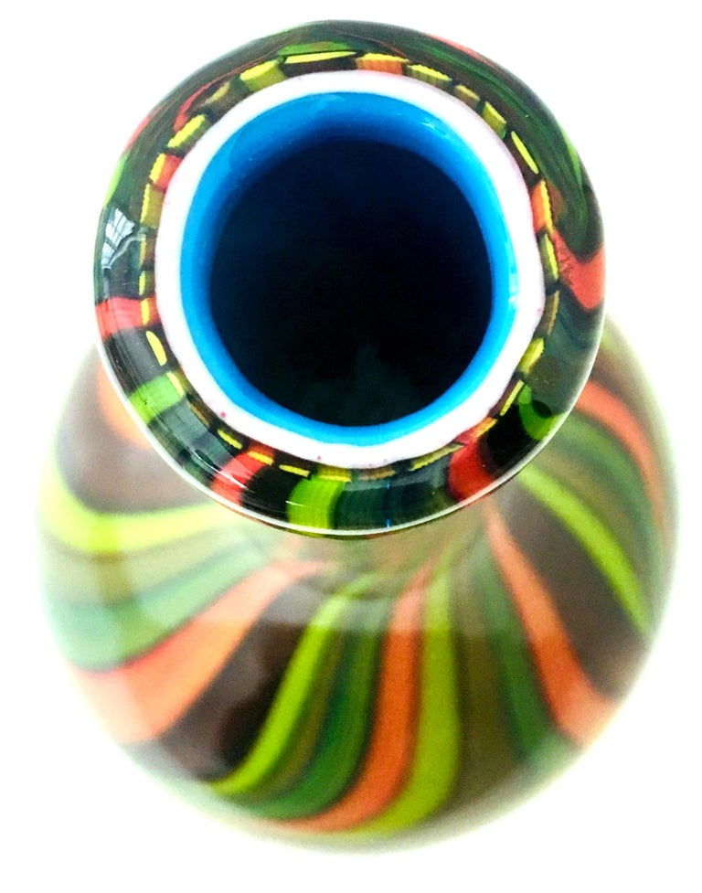 20th Century Murano Style Cased Art Glass Striped Vase For Sale 1