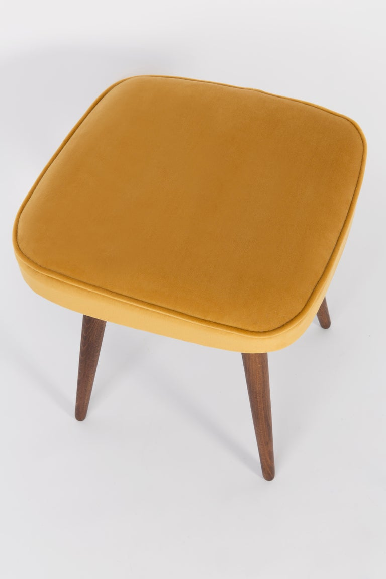 Stool from the turn of the 1960s and 1970s. Beautiful mustard velor upholstery. The stool consists of an upholstered part, a seat and wooden legs narrowing downwards, characteristic of the 1960s style. We can prepare this pair also in another color