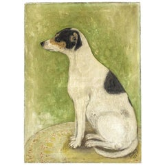 20th Century Naïve Oil on Canvas Painting of a Jack Russell
