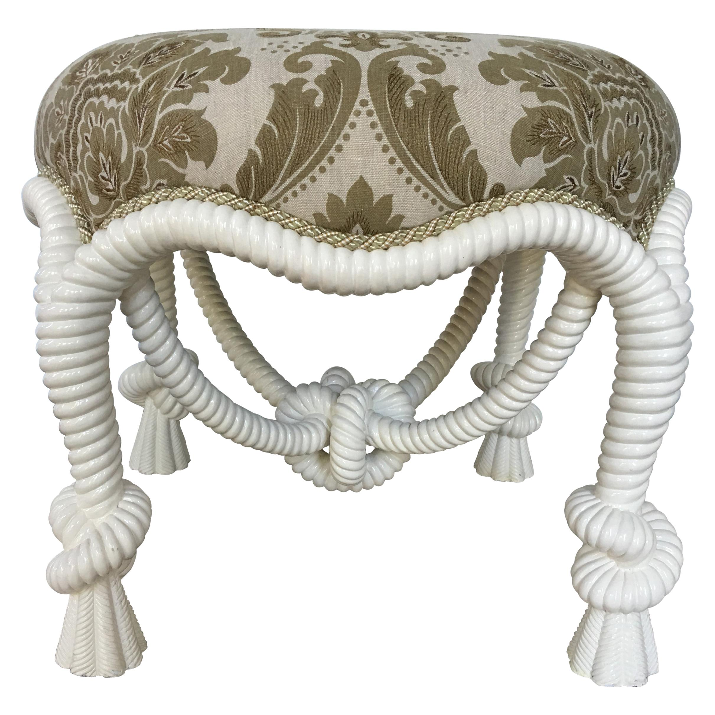 20th Century Napoleon III Style Lacquered Rope Twist Upholstered Tabouret
