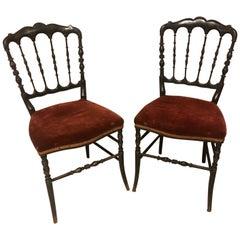 20th Century Napoleon III Style Pair of Chairs