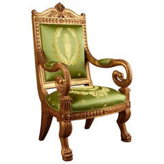 20th Century Napoleonic Swan Chair in the Empire Style Beechwood Poliment Gilded