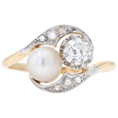 20th Century Natural Pearl Diamonds 18 Karat Yellow Gold You and Me Ring