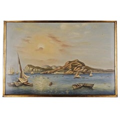 20th Century Naturalistic Oil Painting Romantic Summery View on the Pier